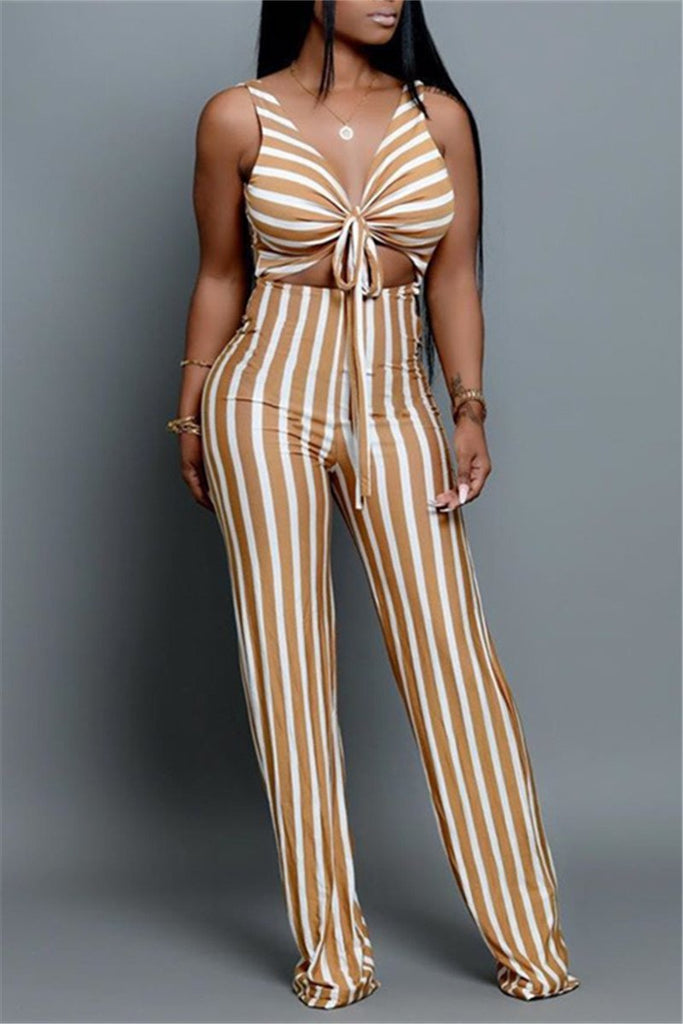 Stripe Print Sleeveless Open Back Jumpsuit