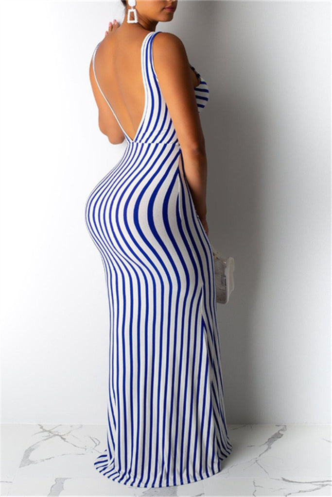 Open Back Tie Up Striped Maxi Dress