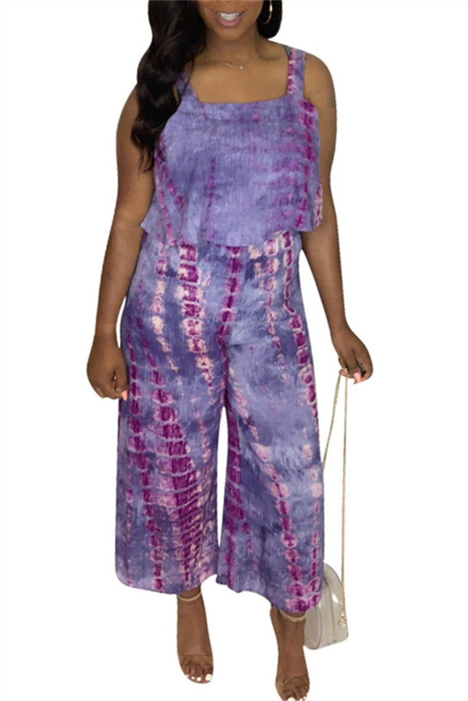 Tie Dye Sleeveless Wide Leg Jumpsuit