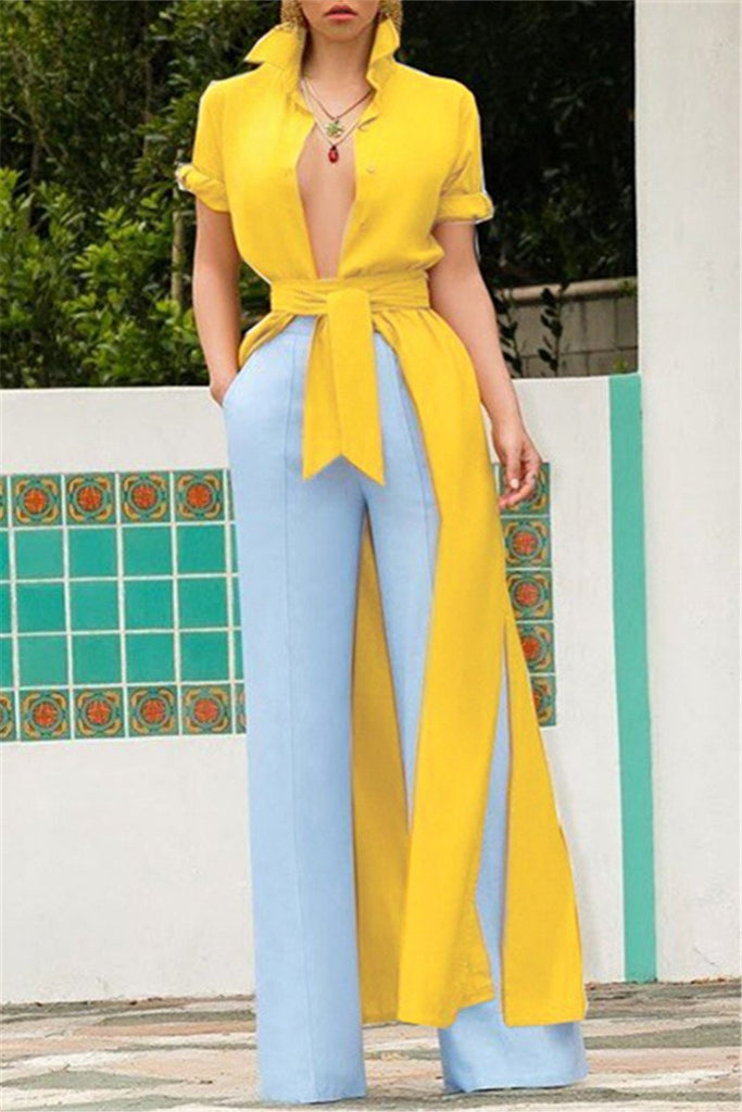 Button Up Side Slit Belted Maxi Dress