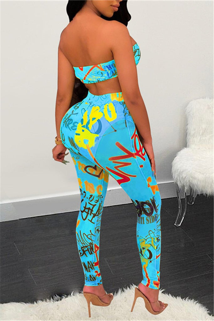 Graffiti Print Tie Up Strapless Two Piece Sets