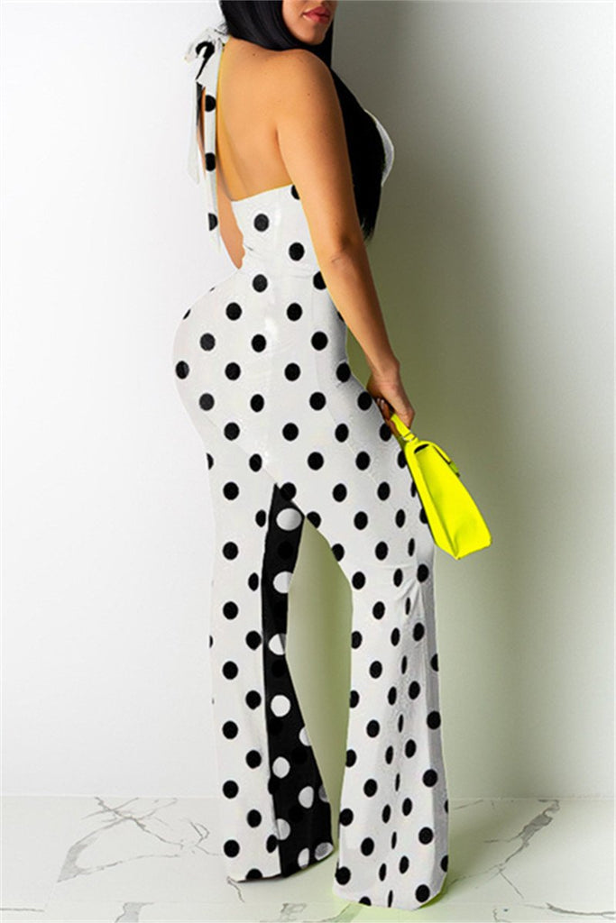 Polka Dot Open Back Sleeveless Jumpsuit