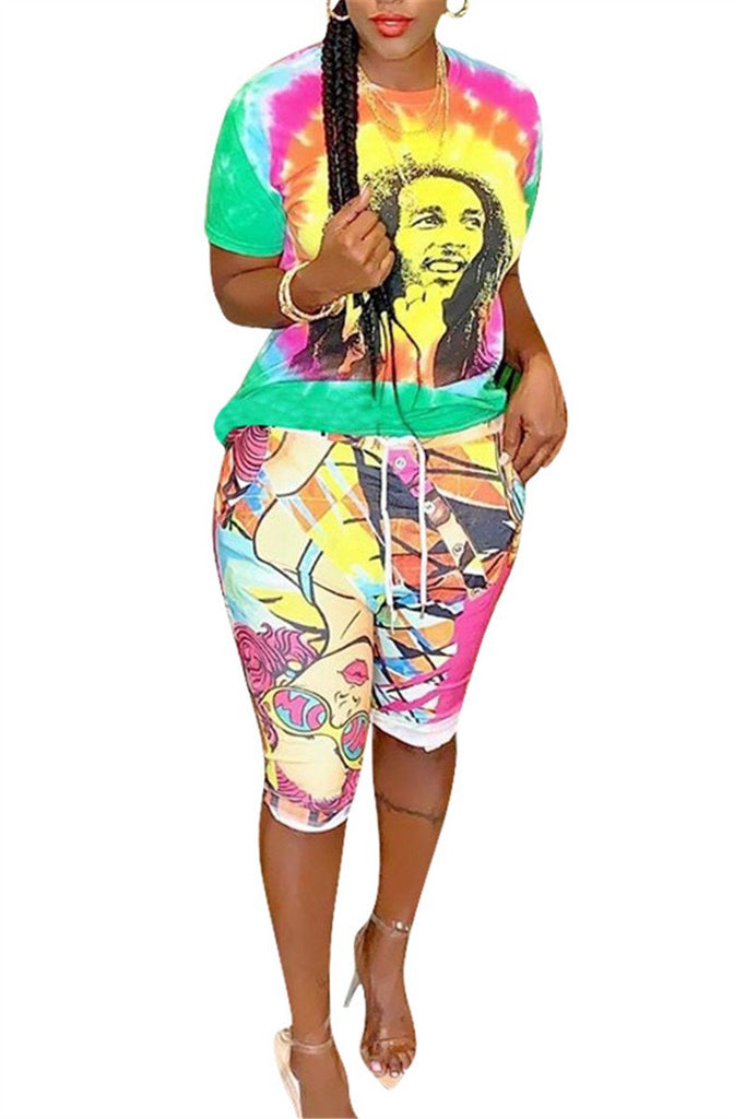 Character Print Short Sleeve Two Piece Sets