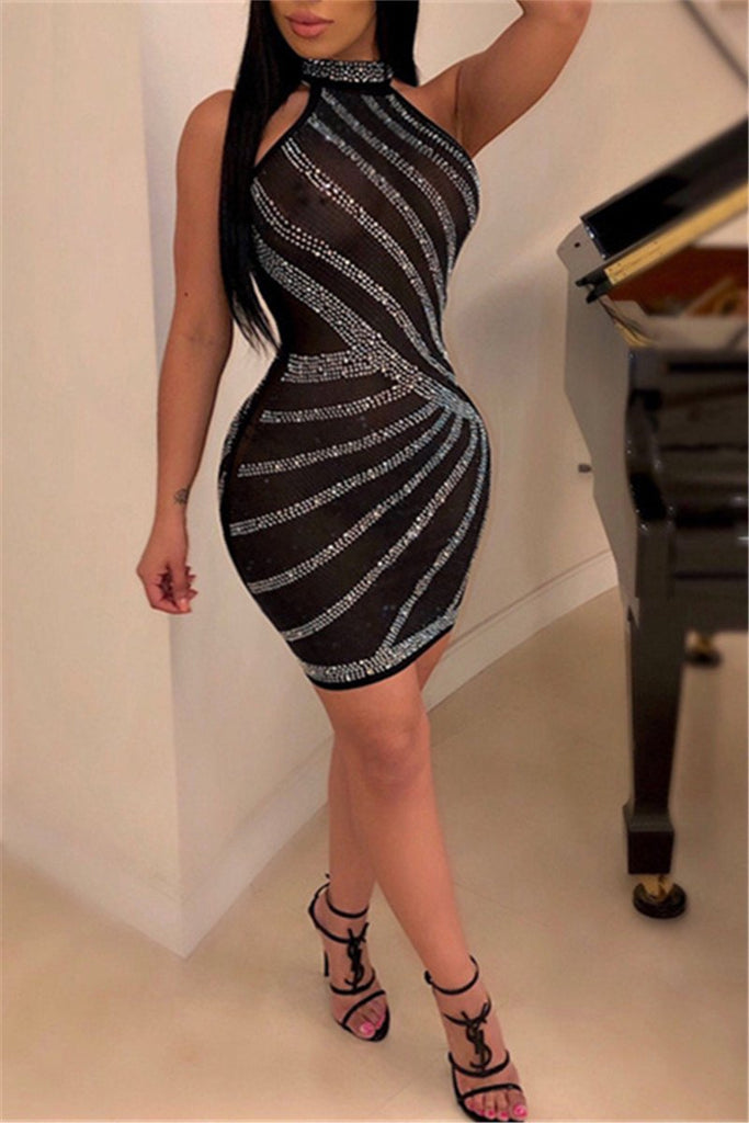 Rhinestone Decor Sleeveless Sexy Dress
