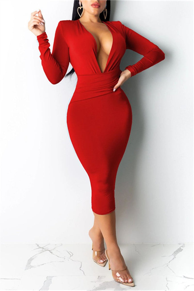 Deep V Neck Long Sleeve Midi Dress