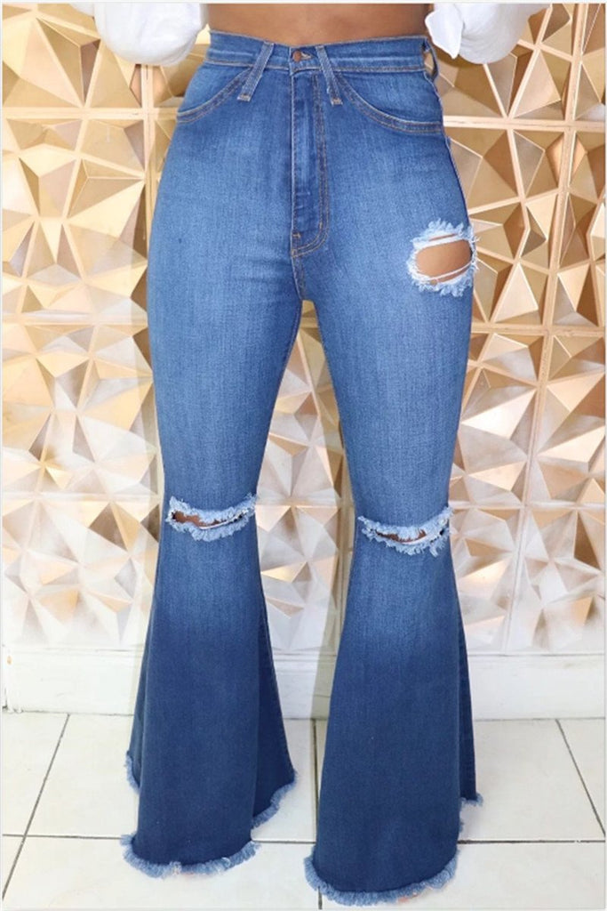 Distressed High Waist Flare Jeans