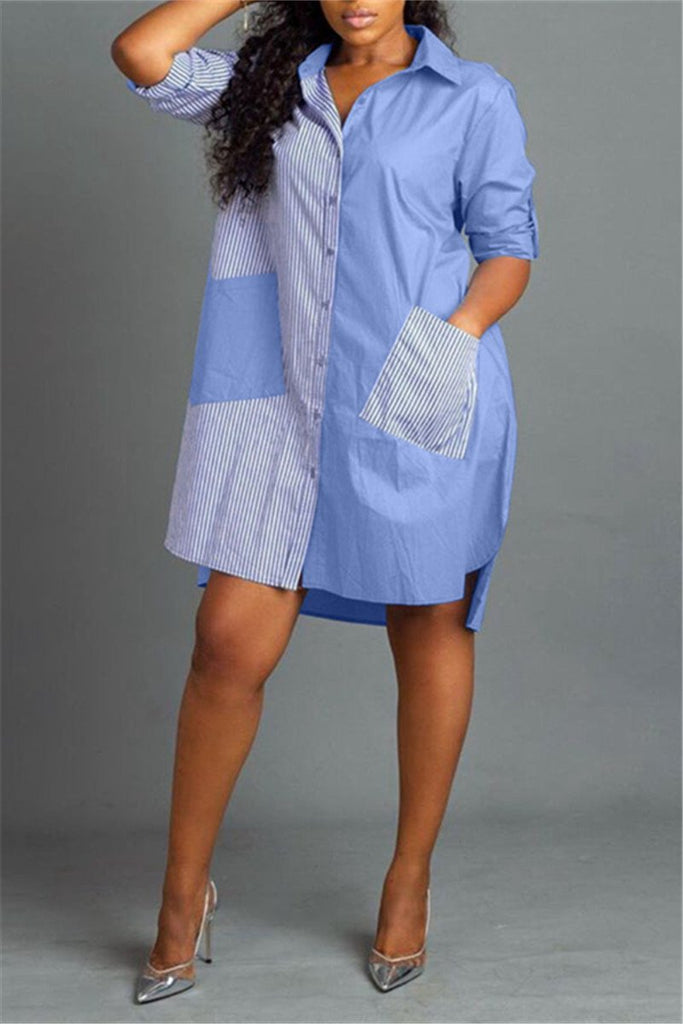 Button Up Patchwork Pocket Shirt Dress