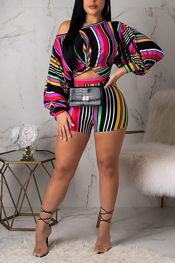 Knotted Colorful Striped Puff Sleeve Top & Shorts