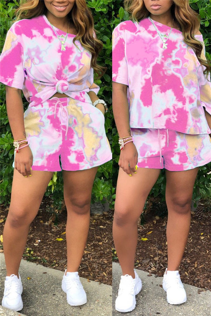 Tie Dye Print Pocket Casual Two Piece Sets