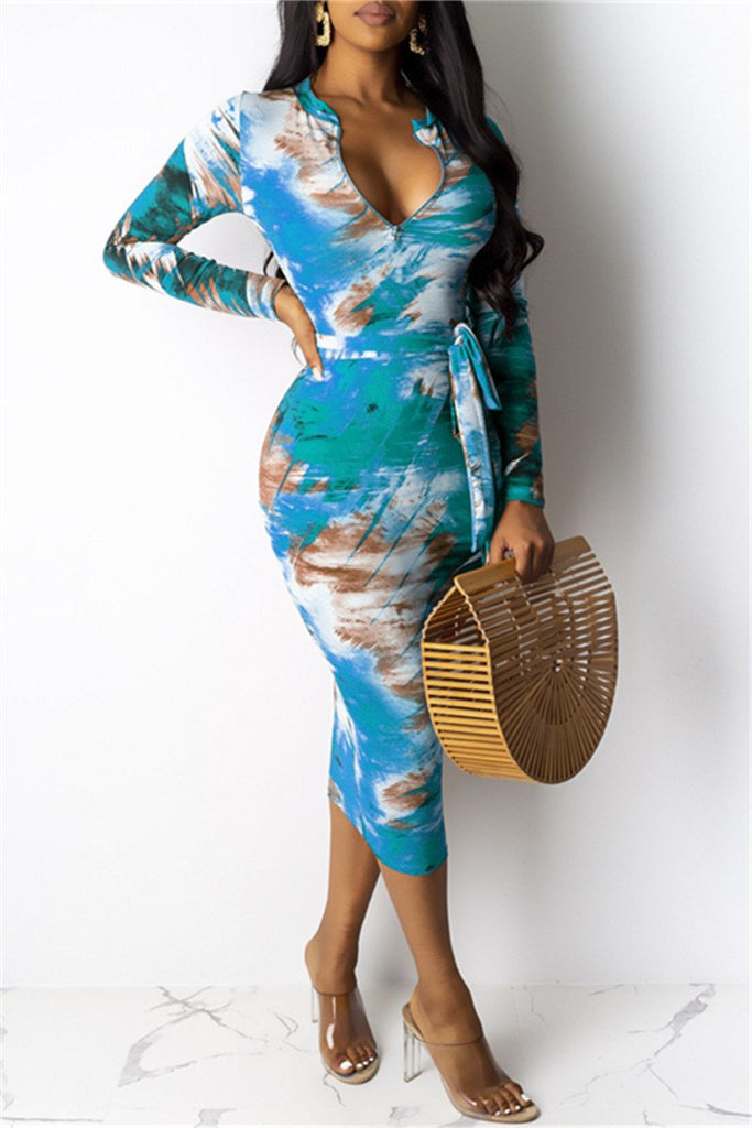 Tie Dye Long Sleeve Belted Midi Dress