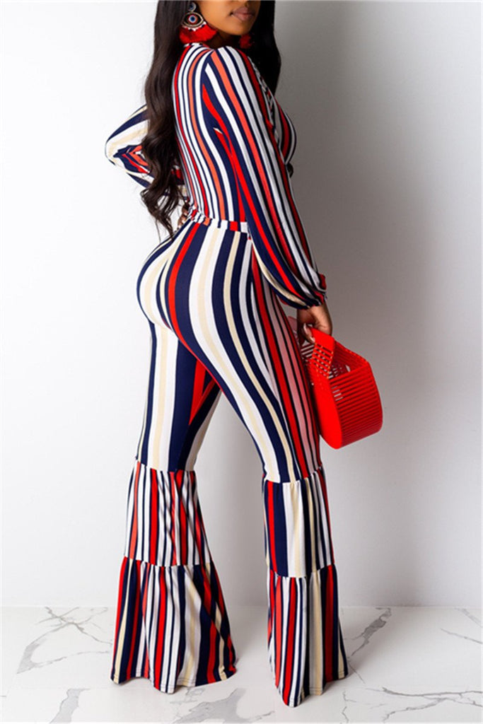 Stripe Print Long Sleeve Flare Jumpsuit