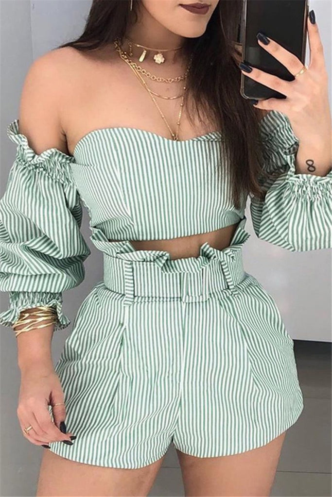 Off the Shoulder Striped Two Piece Sets