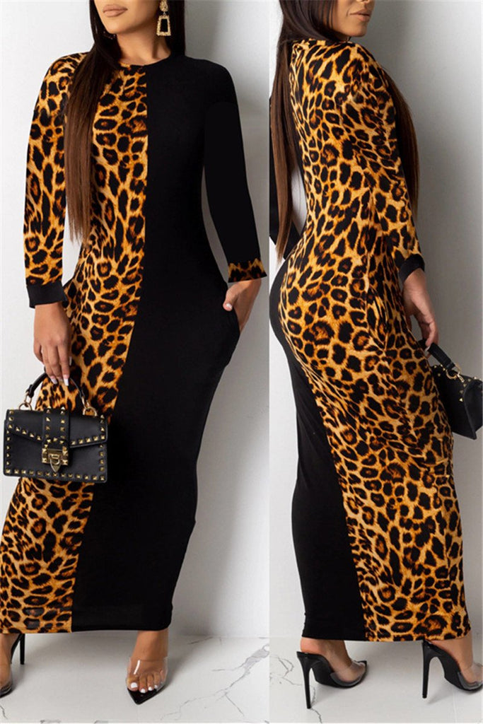 Leopard Print Patchwork Long Sleeve Dress