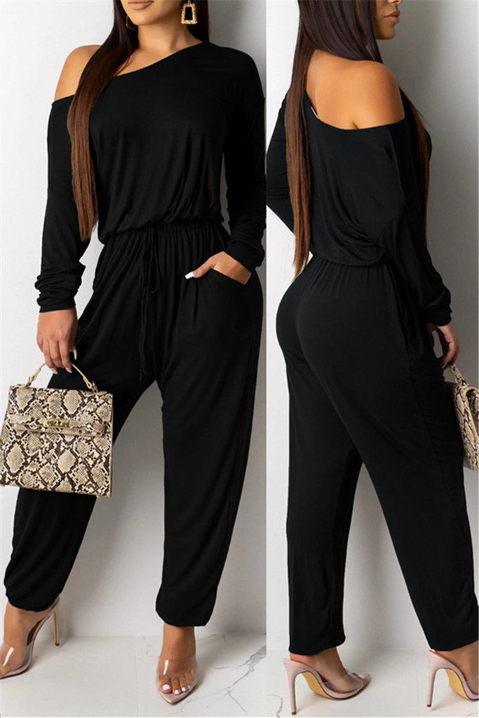 Skew Neck Long Sleeve Pocket Jumpsuit