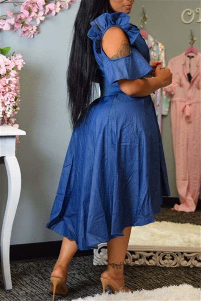 Cold Shoulder Ruffled Asymmetric Denim Dress