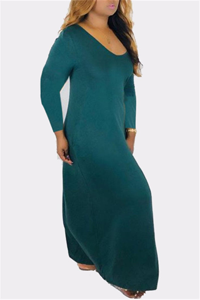 Solid Color Long Sleeve Pocket Maxi Dress