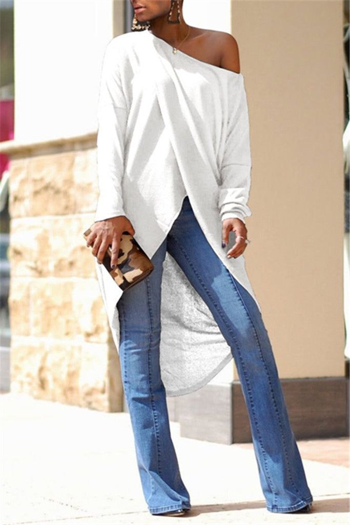 Skew Neck Long Sleeve High Low Top