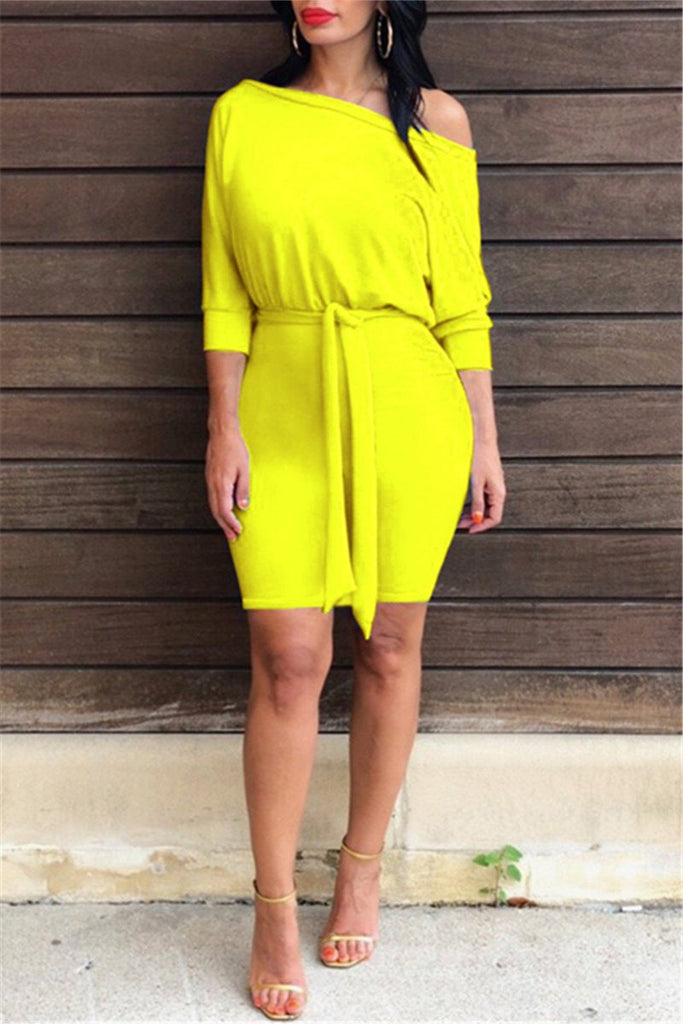 Skew Neck Solid Color Belted Dress