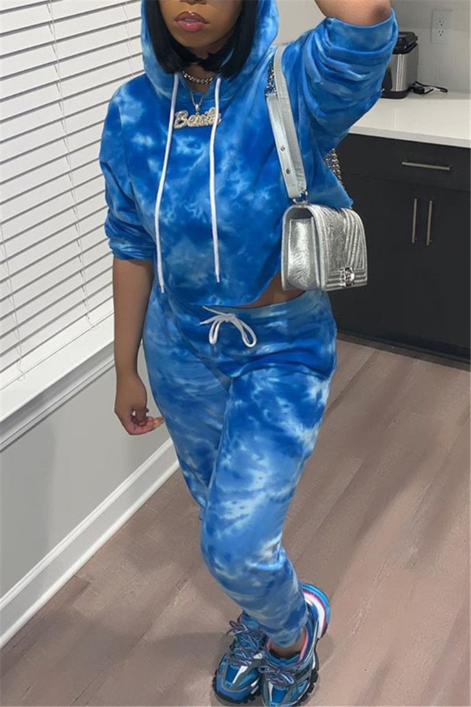 Tie Dye Long Sleeve Hooded Two Piece Outfits