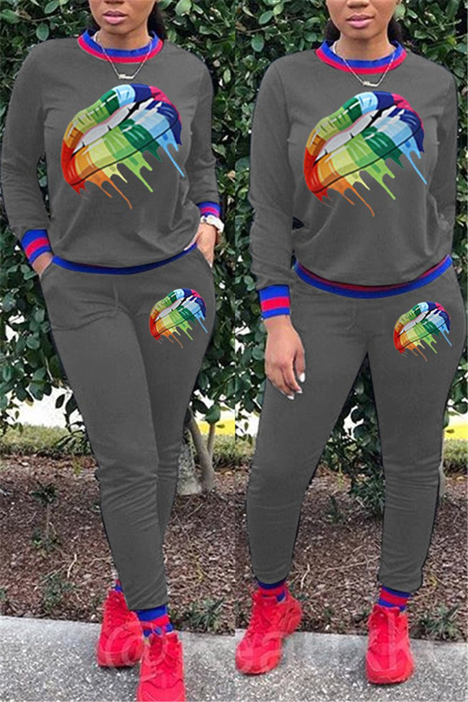 Colorful Lip Print Long Sleeve Top & Pants