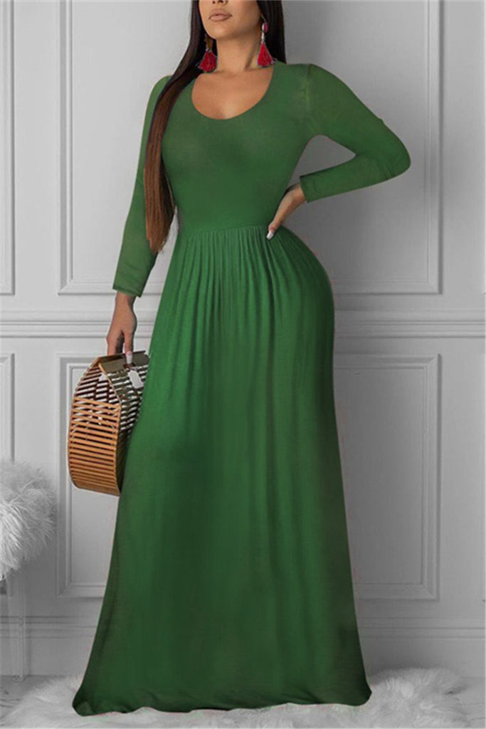 Solid Color Long Sleeve Casual Maxi Dress