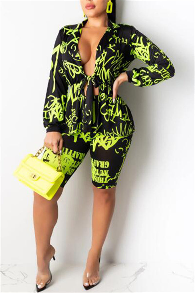 Tie Up Printed Long Sleeve Two Piece Sets