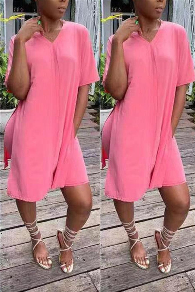 Side Slit Solid Color Casual Two Piece Sets