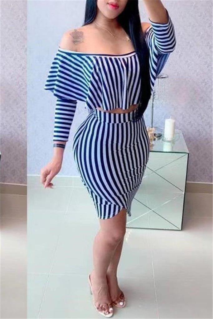 Off the Shoulder Stripe Print Two Piece Dress