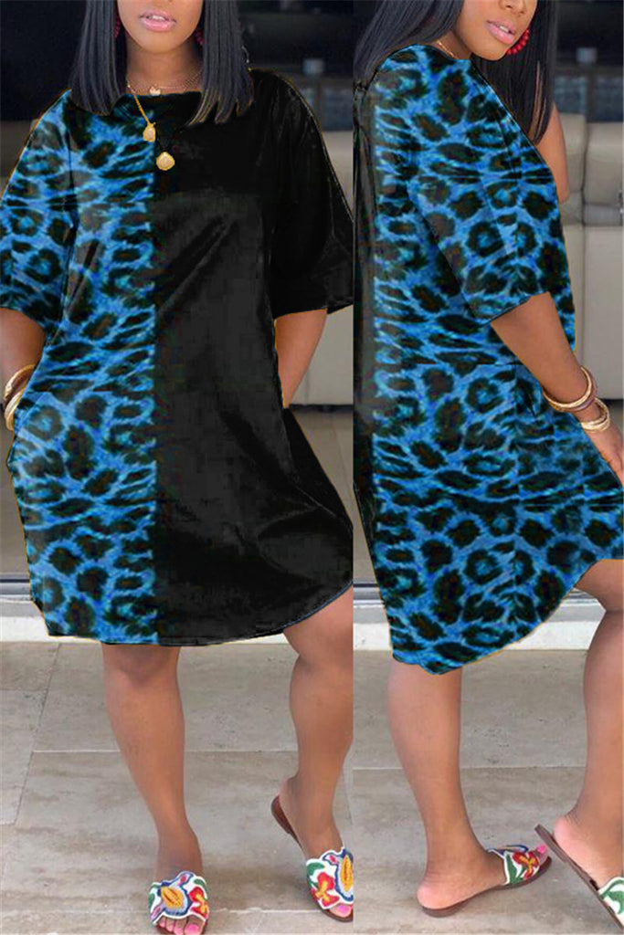 Leopard Patchwork Short Sleeve Casual Dress
