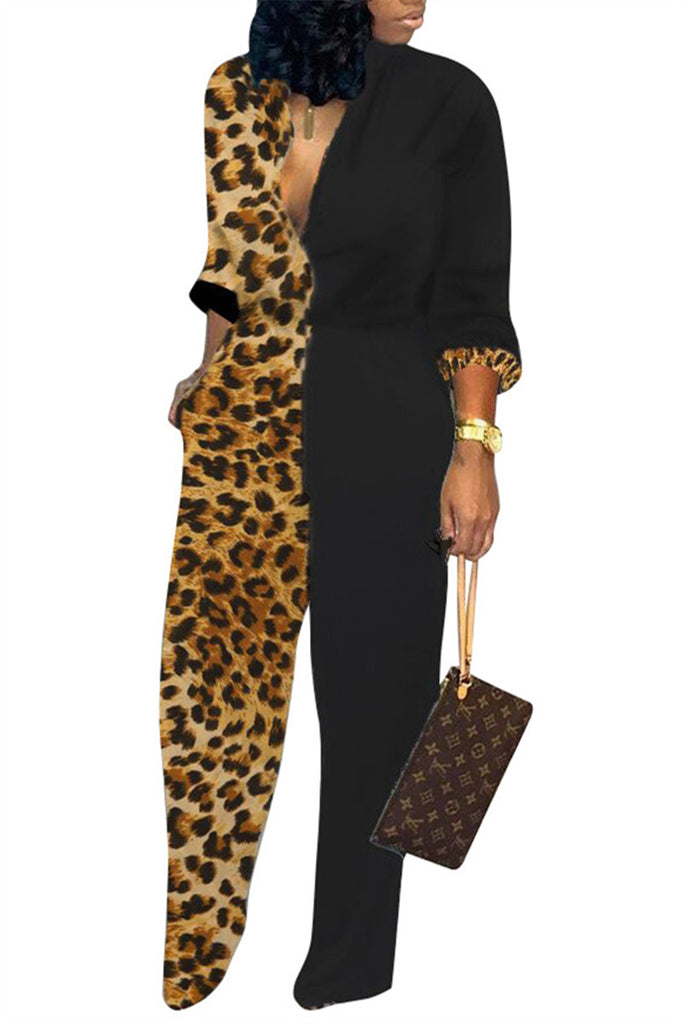 Leopard Patchwork Long Sleeve Jumpsuit
