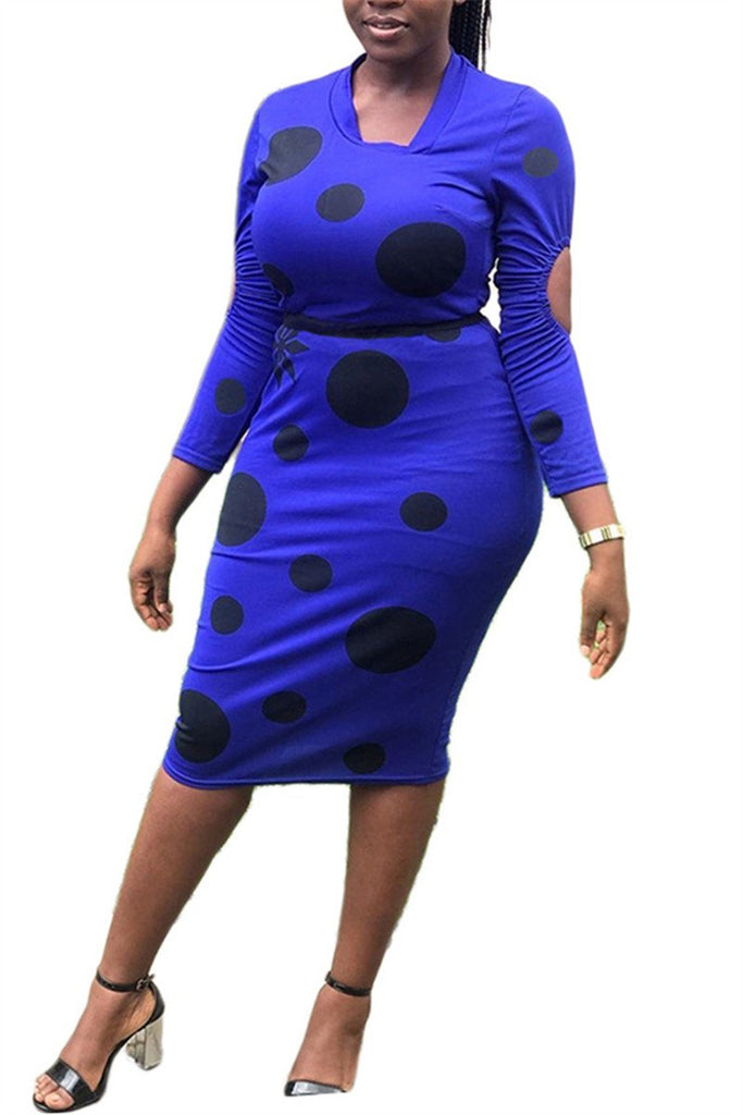 Polka Dot Cutout Sleeve Midi Dress