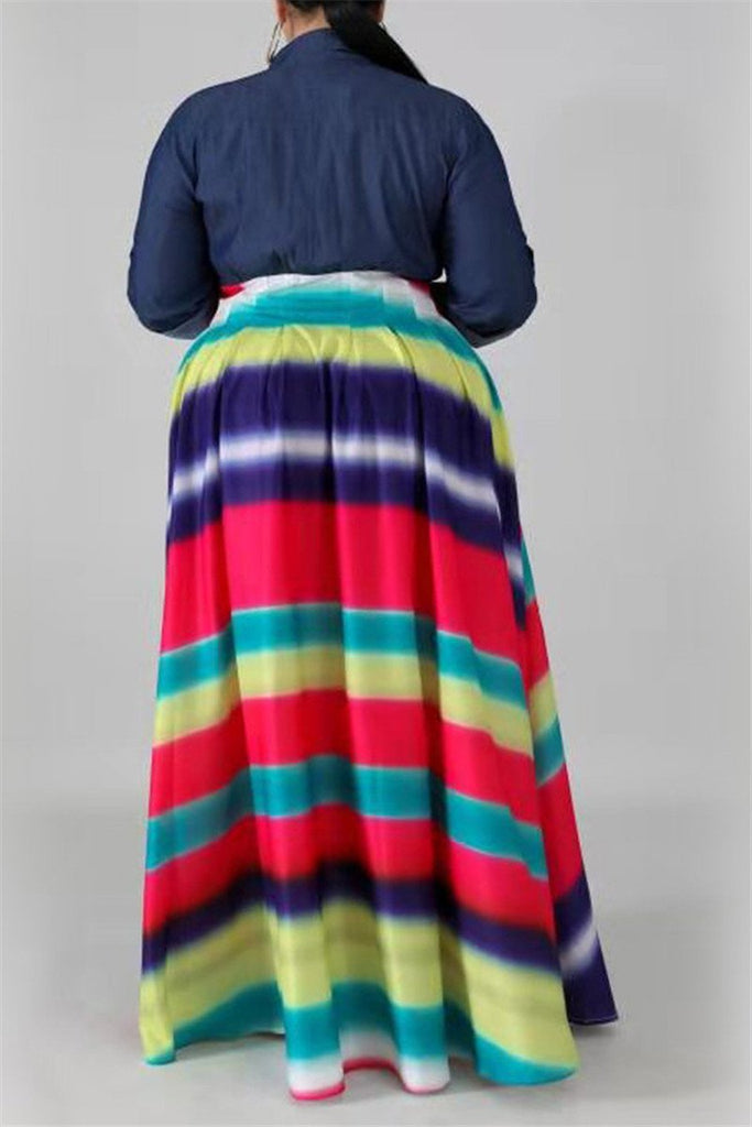 Denim Patchwork Colorful Stripe Plus Size Dress