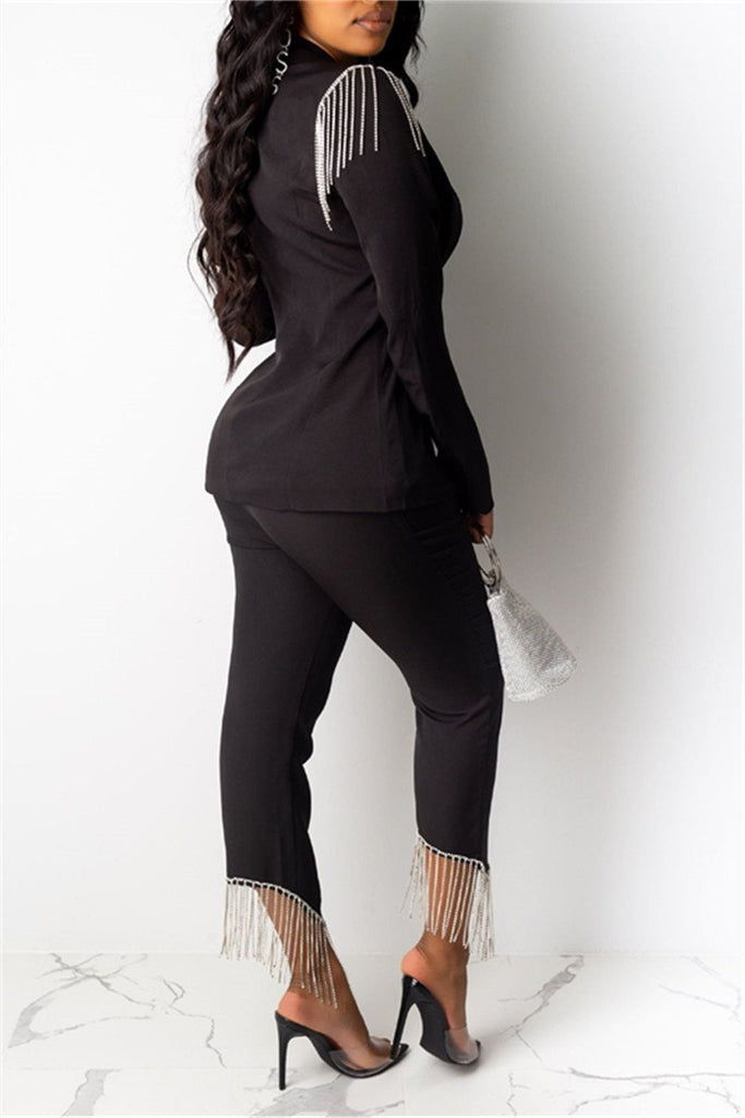 Tassels Decor Long Sleeve Blazer & Pants