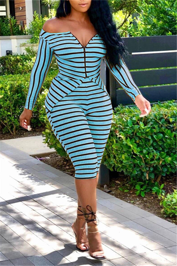 Off the Shoulder Striped Slit Two Piece Sets