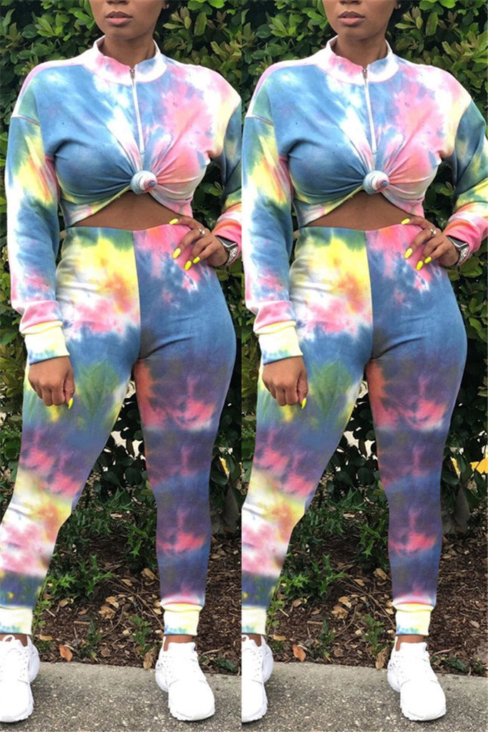 Quarter Zip Tie Dye Casual Two Piece Sets