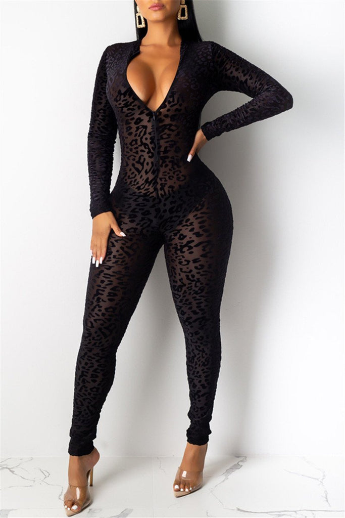 Semi Sheer Long Sleeve Leopard Sexy Jumpsuit