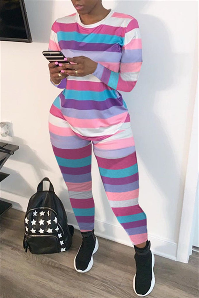 Colorful Stripe Long Sleeve Two Piece Sets
