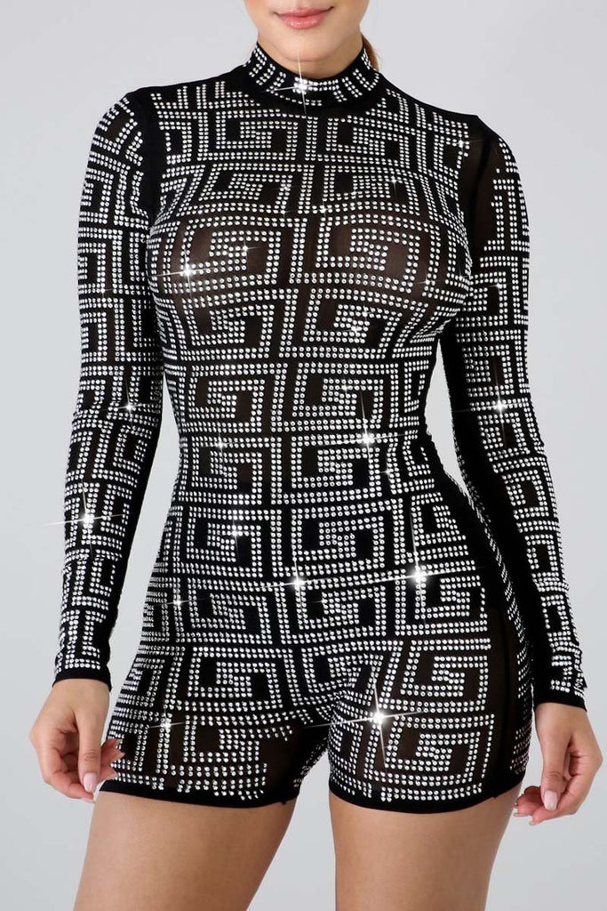 See-through Hot Drilling Long Sleeve Romper