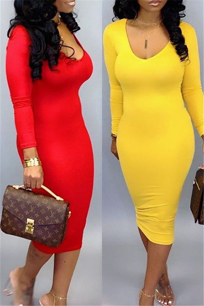 Solid Color Long Sleeve Midi Dress