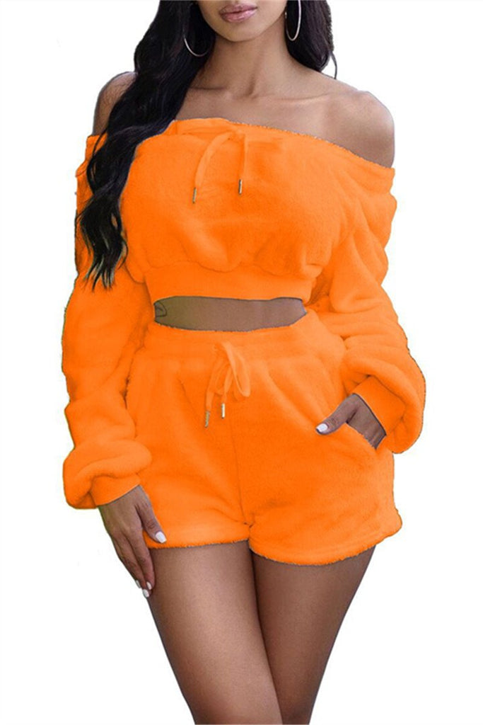 Off the Shoulder Long Sleeve Plush Two Piece Sets