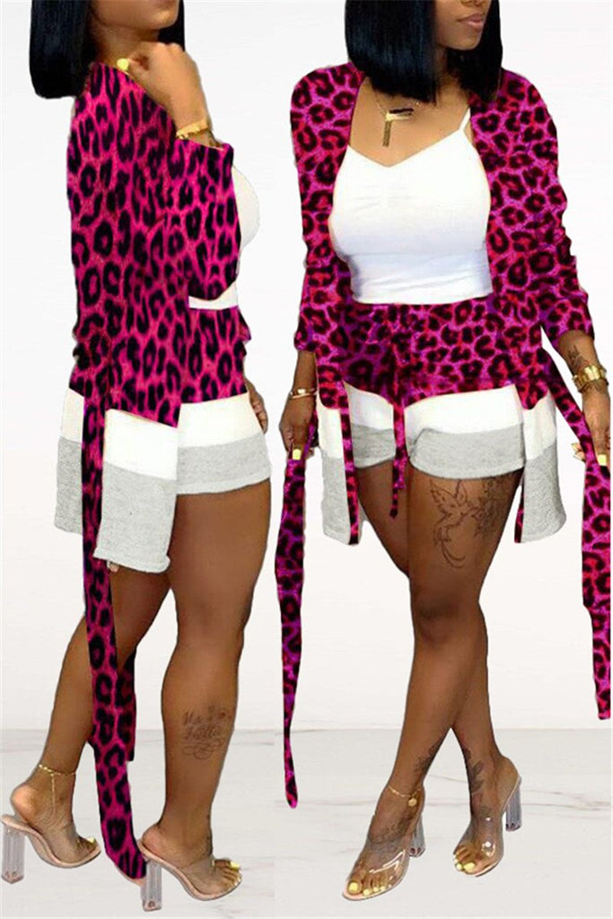 Leopard Print Patchwork Belted Cardigan & Shorts
