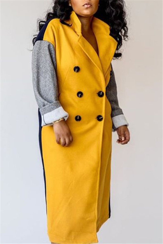 Color Patchwork Winter Wool Coat