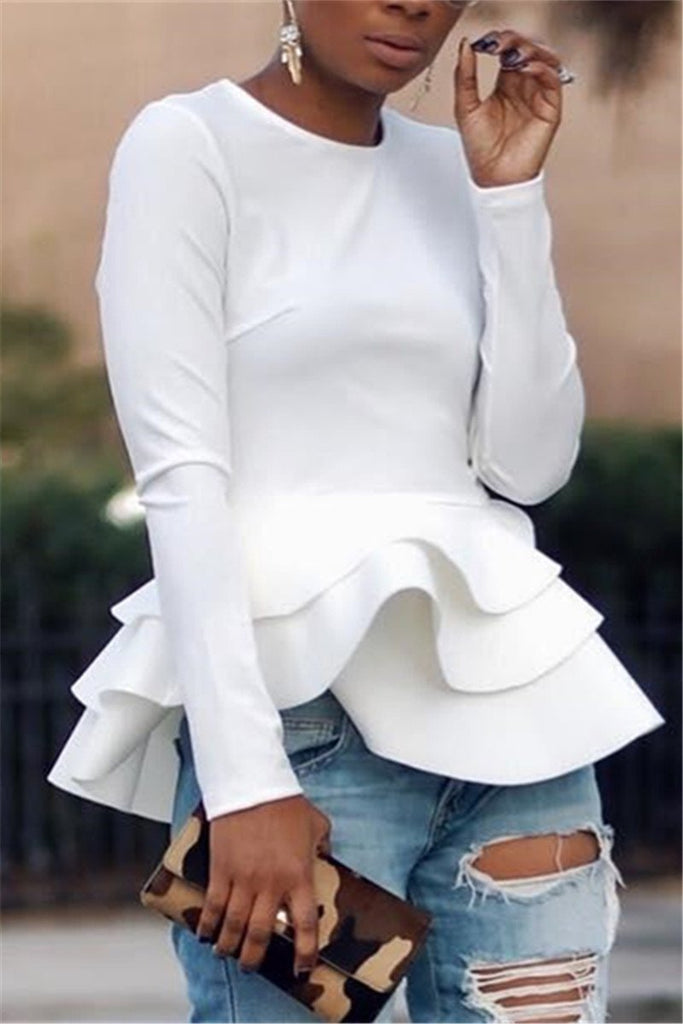 Solid Color Long Sleeve Ruffled Top