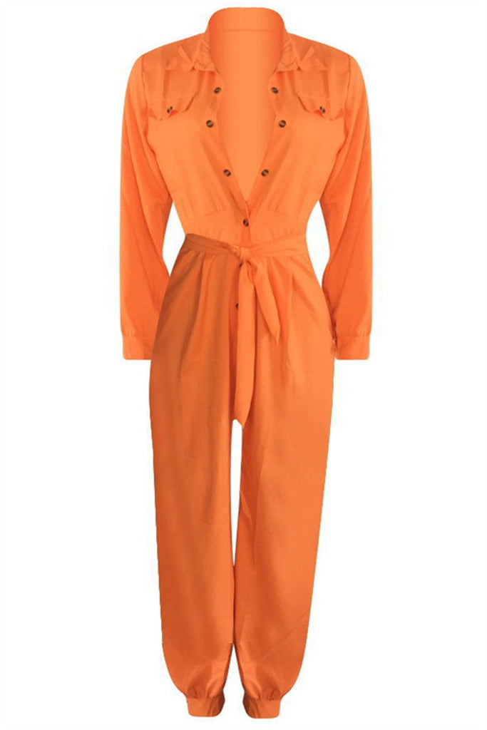 Button Up Long Sleeve Belted Jumpsuit