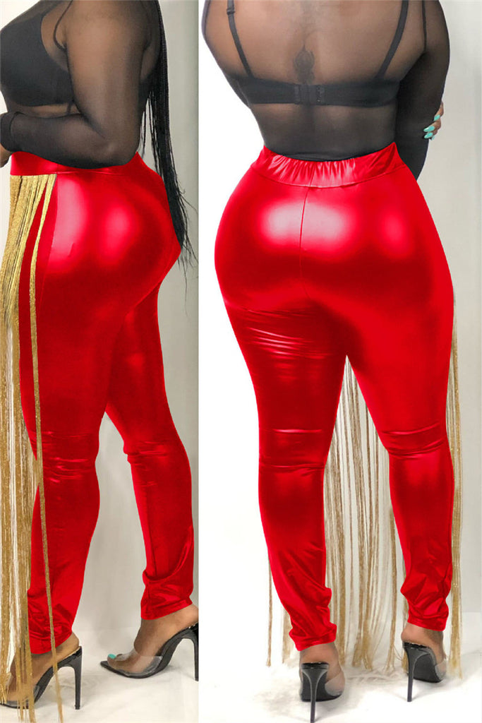 Tassels Decor High Waist PU Pants