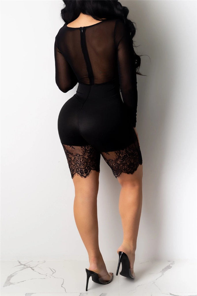 Lace Panel Long Sleeve Sexy Romper