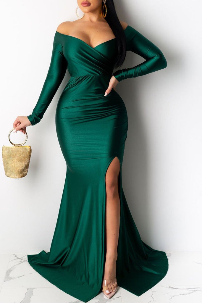 Off The Shoulder High Slit Party Maxi Dress
