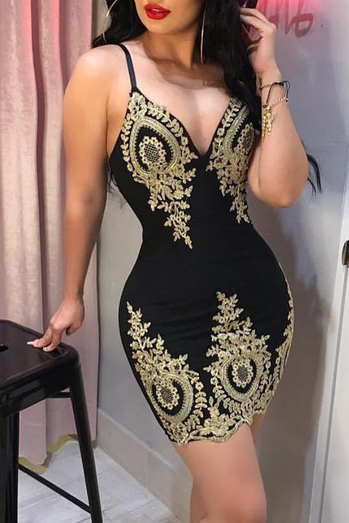 Sexy Embroidered Sleeveless Bodycon Mini Dress