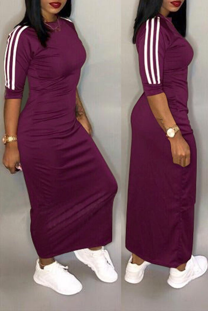 Casual Half Sleeve Stripe Midi Dress Plus Size