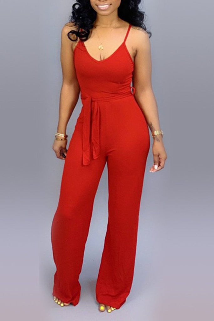 Tie Up Round Neck Sleeveless Solid Color Jumpsuit